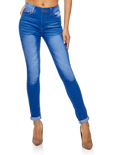 Faded Whisker Wash Jeans,BLUE,large