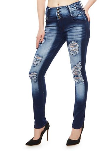 4 Button Frayed Push Up Jeans,INDIGO,large