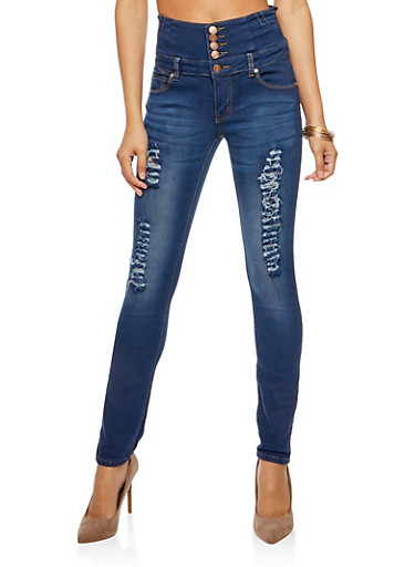 High Waisted Faded Skinny Jeans,INDIGO,large