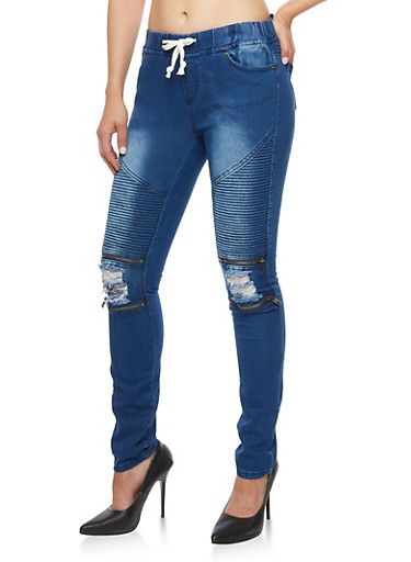 Ripped Zip Moto Jeggings at Rainbow Shops in Jacksonville, FL | Tuggl