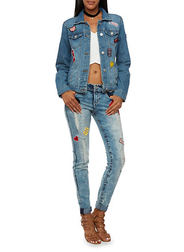 Almost Famous Denim Jacket with Patches,MEDIUM WASH,large