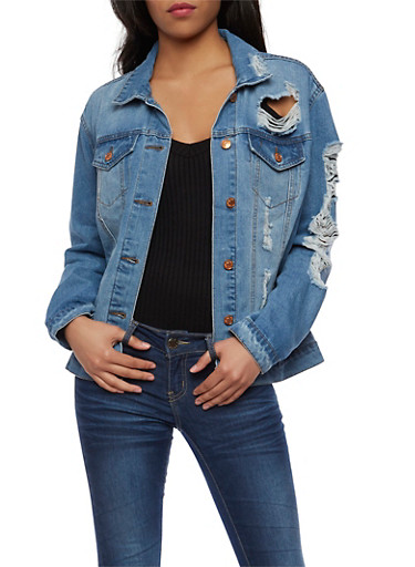 Almost Famous Destroyed Denim Jacket,MEDIUM WASH,large
