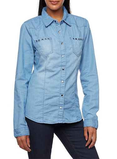 Chambray Shirt with Grommet Trim Pockets,MEDIUM WASH,large