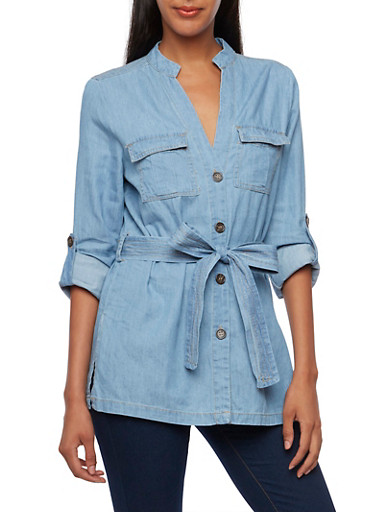 Chambray Button-Up Top with Waist Belt,MEDIUM WASH,large