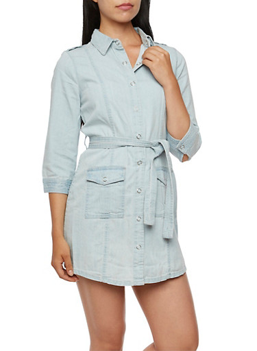 Belted Denim Shirt Dress,LIGHT WASH,large