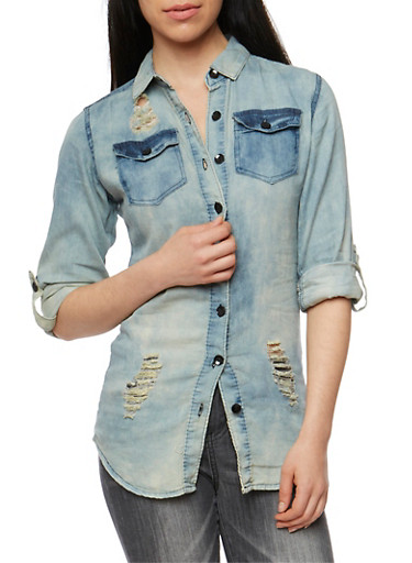 Acid Wash Distressed Denim Button Front Shirt,MEDIUM WASH,large