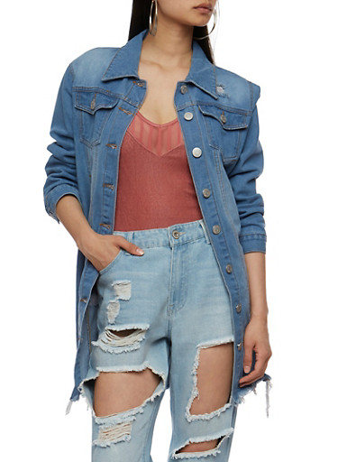 Distressed Button Front Long Denim Jacket,MEDIUM WASH,large