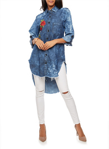 Frayed Embroidered Denim High Low Tunic Top,MEDIUM WASH,large