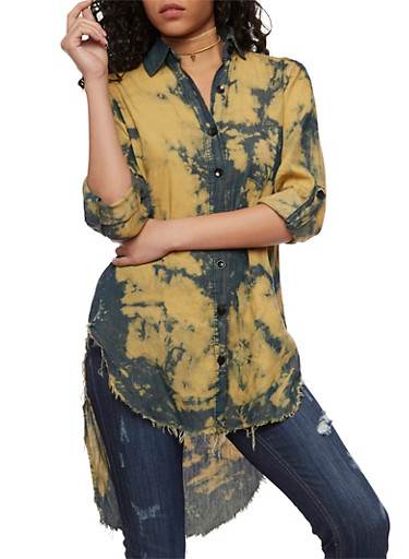Bleached Button Front High Low Shirt,BLEACH,large