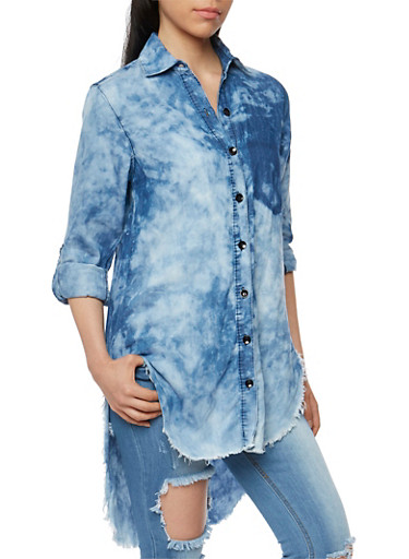 High Low Acid Wash Denim Button Front Shirt,LIGHT WASH,large