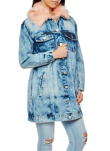 Long Line Acid Wash Denim Jacket with Faux Fur Collar,BLUSH,large