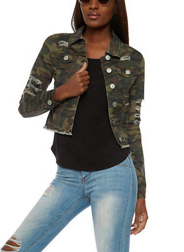 VIP Jeans Camouflage Weekend Graphic Jacket,OLIVE,large