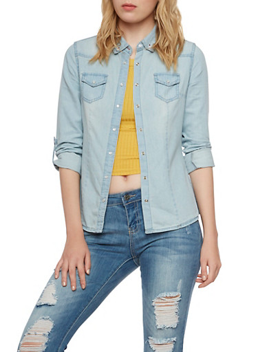 Chambray Shirt with Snap Front,LIGHT WASH,large