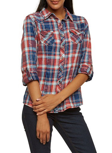 Highway Jeans Button-Down Plaid Shirt with Faded Print,RED,large