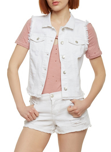 Wax Jean High Low Denim Vest with Frayed Trim,WHITE,large