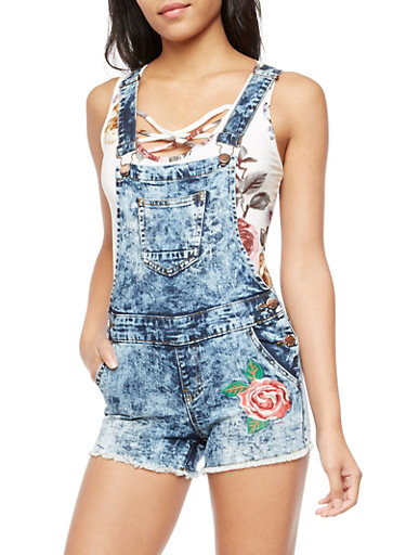 Rose Embroidered Denim Short Overalls,ANTIQUE DENIM,large