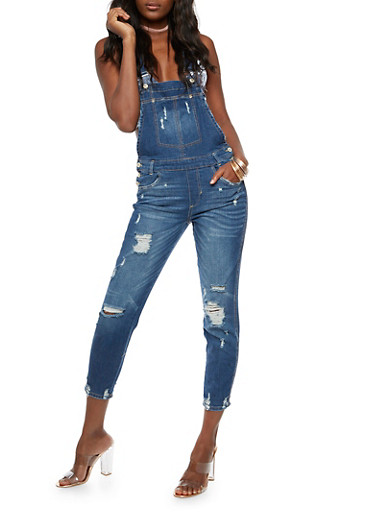 Destroyed Denim Overalls,DARK WASH,large