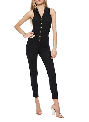 Soft Knit Collared Button Front Jumpsuit,BLACK,large