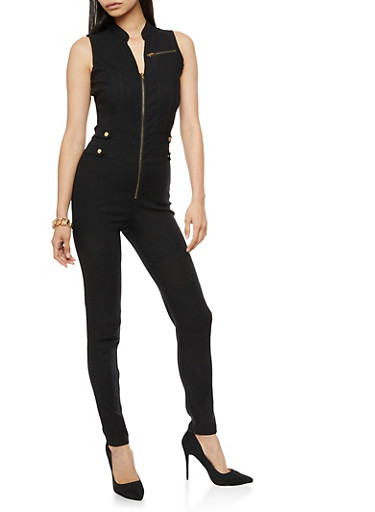Sleeveless Zip Front Solid Jumpsuit,BLACK,large