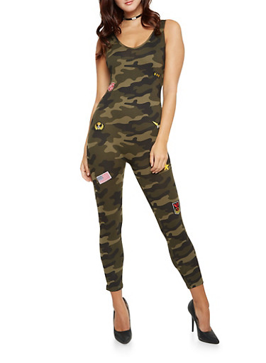Sleeveless Camo Catsuit with Patches,CAMOUFLAGE,large