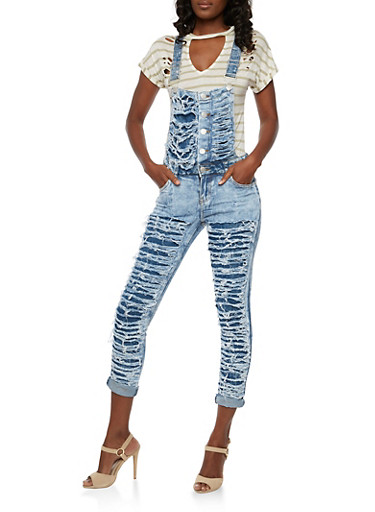 Shredded Denim Overalls,LIGHT WASH,large