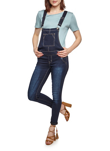 Push Up Dark Denim Overalls,DENIM,large