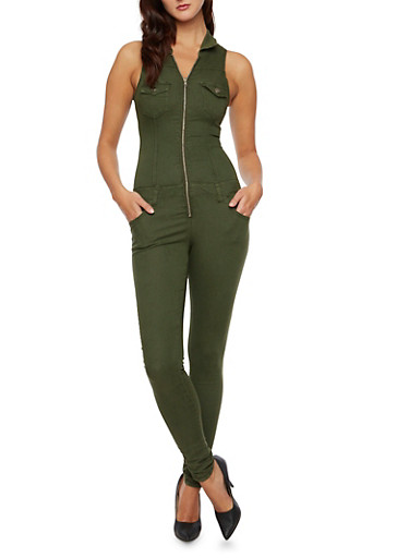 Sleeveless Jumpsuit with Zip Front,OLIVE,large