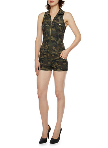 Camo Zip Front Romper,OLIVE,large