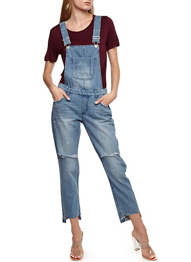 Denim Frayed Step Hem Overalls,MEDIUM WASH,large