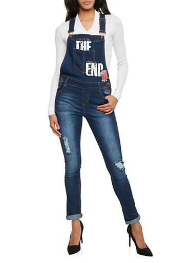 Distressed Denim Overalls with The End Graphic,BLUE,large