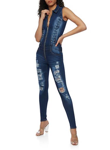 Sleeveless Zip Front Denim Jumpsuit,DARK WASH,large
