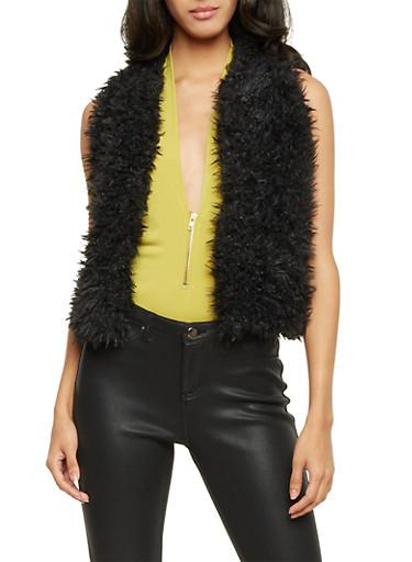 Short Vest in Faux Fur,BLACK,large