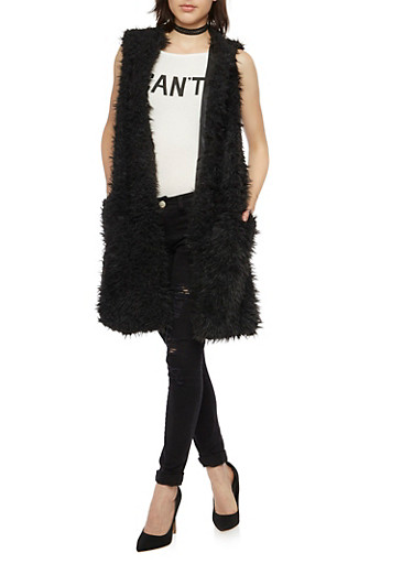 Long Vest in Faux Fur,BLACK,large