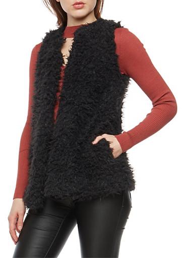 Shag Faux Fur Vest,BLACK,large