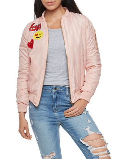 Bomber Jacket with Graphic Patches,MAUVE/BURG,large