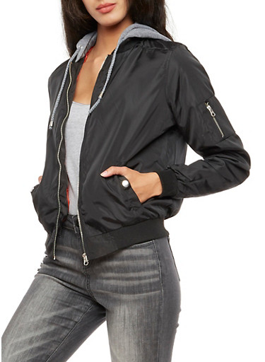 Hooded Bomber Jacket,BLACK,large