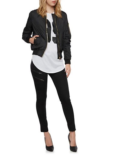 Satin Bomber Jacket with Ruching,BLACK,large