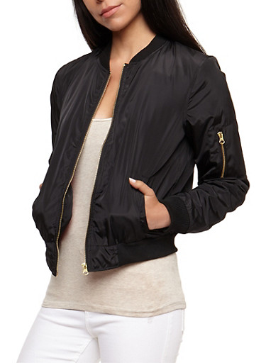 Solid Bomber Jacket,BLACK,large