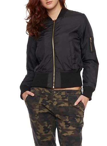 Zip Front Bomber Jacket,BLACK,large