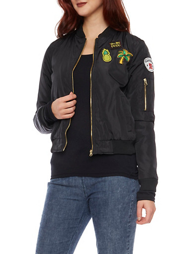 Bomber Jacket with Patches,BLACK,large