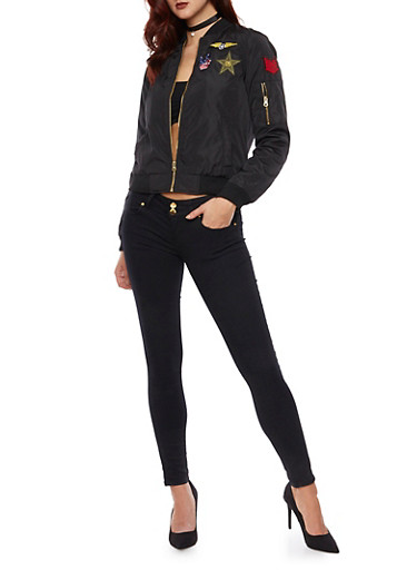 Silky Bomber Jacket with Patches,BLACK,large