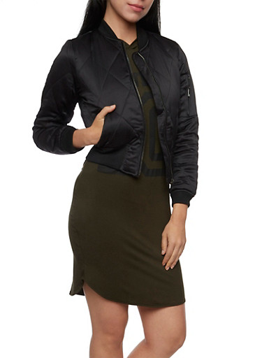 Bomber Jacket in Quilted Knit,BLACK,large