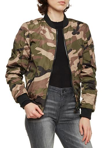 Camo Print Bomber Jacket,OLIVE,large