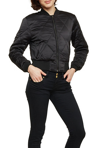 Quilted Bomber Jacket in Cropped Fit,BLACK,large