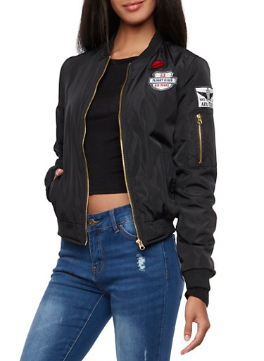 Military Bomber Jacket with Patches,BLACK,large
