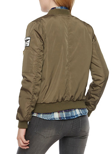 Military Bomber Jacket with Patches - Rainbow