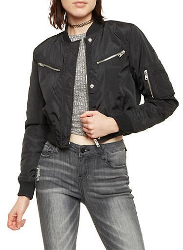 Cropped Bomber Jacket with Light Padding,BLACK,large