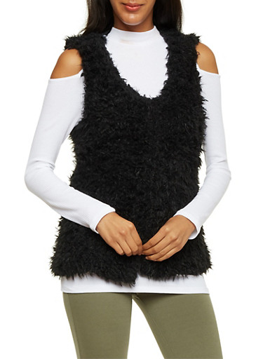 Faux Fur Vest with Shawl Collar,BLACK,large