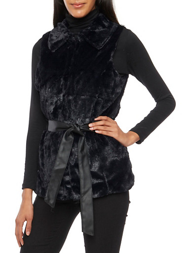 Faux Fur Vest with Faux Leather Belt,BLACK,large