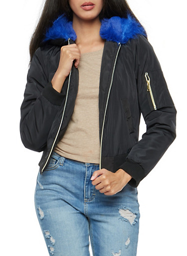 Faux Fur Lined Hooded Flight Jacket,BLACK,large
